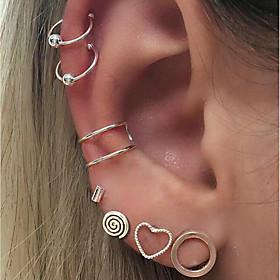 Stud Earrings Clip Earrings - Heart Fashion Silver For Daily Date / 7pcs