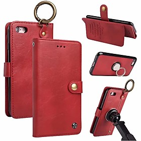 Case For Apple iPhone X / iPhone 8 Wallet / Card Holder / Ring Holder Full Body Cases Solid Colored Hard Genuine Leather for iPhone X / iPhone 8 Plus / iPhone