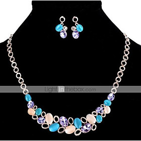Jewelry Set - Opal, Rose Gold Plated Party, Fashion, Cute Include Rainbow For Party Special Occasion Anniversary / Earrings / Necklace