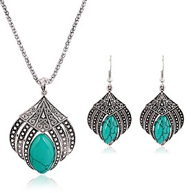 Women's Turquoise Jewelry Set Ladies, Vintage, Fashion, western style Include Drop Earrings Pendant Necklace Silver For Daily
