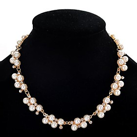 Women's Pearl Statement Necklace Pearl Strands Pearl Imitation Diamond Ladies Cute White 405 cm Necklace Jewelry For Party
