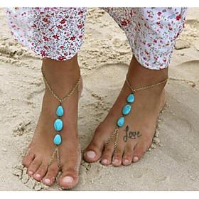 Drop Barefoot Sandals - Women's Gold Bohemian / Bikini Anklet For Bikini / Holiday 6681171