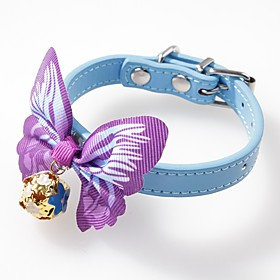 Dogs Cats Pets Collar Adjustable / Retractable Cute and Cuddly With Bell Solid Colored Bowknot PU Leather Red Blue Pink