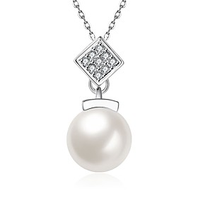 Women's Cubic Zirconia Freshwater Pearl Pendant Necklace - Pearl, Stainless Steel, 18K Gold Fashion Lovely White 50 cm Necklace Jewelry For Gift, Daily