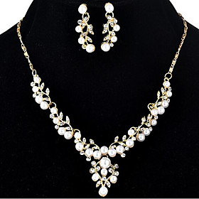 Jewelry Set Floral / Botanicals, Leaf, Flower Ladies, Oversized Include Stud Earrings Choker Necklace Gold / Silver For Wedding Evening Party Masquerade Engage
