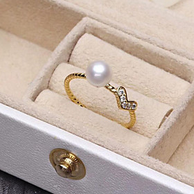 Women's Cubic Zirconia Freshwater Pearl Open Ring Sterling Silver Stainless Steel Silver Plated Heart Ladies Simple Fashion Elegant Ring Jewelry Gold / Silver