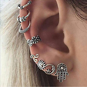 Women's Geometric Stud Earrings Hoop Earrings Ear Cuff - Sun, Moon Bohemian, Ethnic, Boho Silver For Evening Party Street