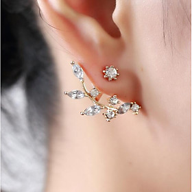Women's Cubic Zirconia Stud Earrings Earrings Floral / Botanicals Leaf Flower Ladies Sweet Jewelry Gold / Silver For Daily Street