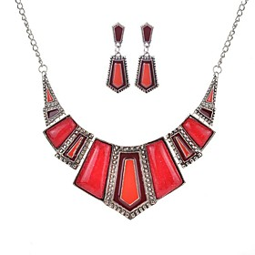 Women's Art Deco Jewelry Set Statement, Ladies, Bohemian, Ethnic, Boho, African Include Necklace Earrings Red / Green / Blue For Party Party Evening Ceremony C