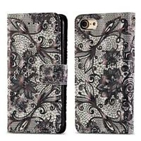 Case For Apple iPhone 8 / iPhone 7 Wallet / Card Holder / with Stand Full Body Cases Lace Printing Hard PU Leather for iPhone 8 / iPhone 7