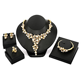 Women's Cubic Zirconia Classic Jewelry Set Pearl Classic, European, Elegant Include Stud Earrings Necklace Bracelet Open Ring Gold For Party Ceremony Evening P
