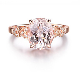 Cubic Zirconia Transparent Engagement Ring - Copper, Rose Gold Plated Heart Classic, Holiday, Tropical 6 / 7 / 8 / 9 / 10 Champagne For Holiday Club