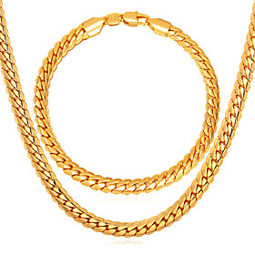 Men's Link / Chain Herringbone Jewelry Set Gold Plated, Rose Gold Plated Twist Circle Ladies, Fashion Include Chain Bracelet Chain Necklace Gold For Daily