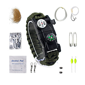 Paracord Bracelet - Compass, Fire Starter, Whistle Waterproof, LED, Tactical for Camping / Hiking / Fishing / Camping / Hiking / Caving - Nylon Fiber / Metalic