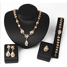 Women's Geometrical Jewelry Set Gold Plated Ladies, Sweet, Fashion Include Chain Bracelet Stud Earrings Pendant Necklace Ring Gold For Wedding Evening Party