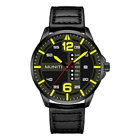 Men's Sport Watch Quartz Quilted PU Leather Black / Blue 30 m Water Resistant / Waterproof Stopwatch Analog Casual Fashion - Yellow Red Blue