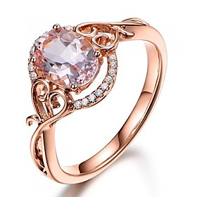 Synthetic Diamond Engagement Ring - Copper, Rose Gold Plated Ball Vintage, Bohemian, Holiday 6 / 7 / 8 / 9 / 10 Champagne For Party Festival