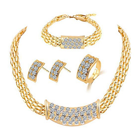 Women's Thick Chain Jewelry Set - Rhinestone Stylish, Classic Include Bracelet Bangles Stud Earrings Necklace Gold For Daily Ceremony