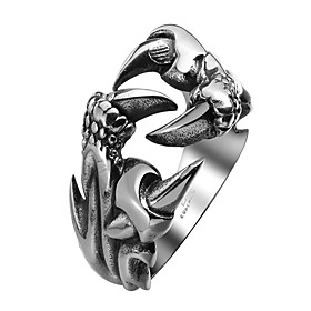 Men's Band Ring Statement Ring wrap ring Steel Stainless Dragon Metallic Vintage Gothic Ring Jewelry Black For Halloween Street 8 / 9