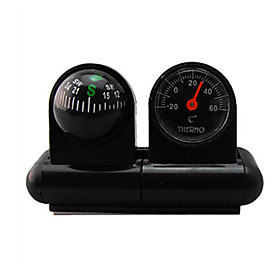Car Compass With Thermometer Bell Car Decorative Pocket Ball Vehicle-borne Type Pointing Guide