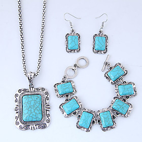 Women's Thick Chain Jewelry Set - Resin Vintage, European, Fashion Include Necklace Earrings Bracelet Blue For Causal