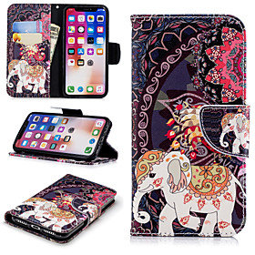 Case For Apple iPhone X / iPhone 8 Plus Wallet / Card Holder / with Stand Full Body Cases Elephant / Flower Hard PU Leather for iPhone X / iPhone 8 Plus / iPho