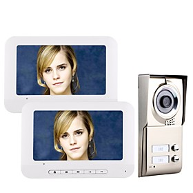 7inch LCD 2 Apartments Video Door Phone Intercom System IR-CUT HD 1000TVL Camera Doorbell Camera