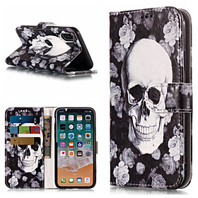 Case For Apple iPhone X / iPhone 8 Plus Wallet / Card Holder / with Stand Full Body Cases Skull Hard PU Leather for iPhone X / iPhone 8 Plus / iPhone 8