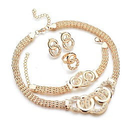 Women's Jewelry Set - Donuts, Twist Circle Classic, Fashion Include Bracelet Bangles Stud Earrings Pendant Necklace Gold For Daily / Ring