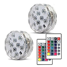 2pcs 10leds RGB Led Underwater Light Pond Submersible Waterproof Swimming Pool Light Battery Operated for Wedding Party