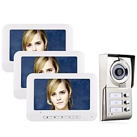 7inch LCD 3 Apartments Video Door Phone Intercom System IR-CUT HD 1000TVL Camera Doorbell Camera