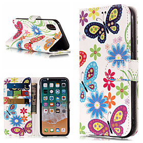 Case For Apple iPhone X / iPhone 8 Plus Wallet / Card Holder / with Stand Full Body Cases Butterfly / Flower Hard PU Leather for iPhone X / iPhone 8 Plus / iPh