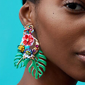 Women's Drop Earrings - Floral / Botanicals, Leaf, Flower European, Fashion Red / Green / Light Pink For Daily Office  Career
