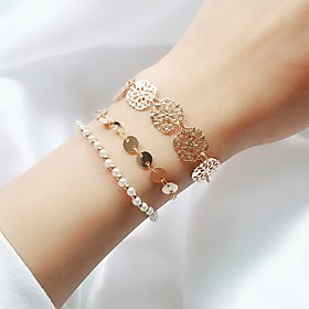 3pcs Women's Layered Chain Bracelet Bracelet Set Imitation Pearl Floral Theme Ladies Simple Trendy Fashion Bracelet Jewelry Gold For Daily Going out