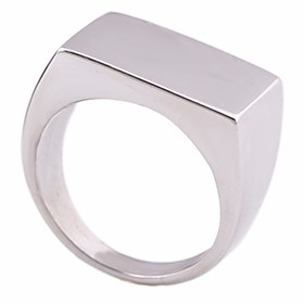 Men's Stylish Ring Signet Ring Titanium Steel Creative Simple Geometric European Ring Jewelry Silver For Daily Holiday 8 / 9 / 10 / 11 / 12