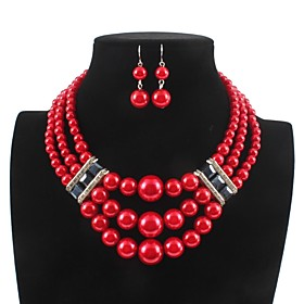 Women's Layered Jewelry Set Imitation Pearl, Rhinestone Ladies, Stylish, Classic Include Drop Earrings Necklace White / Red For Daily