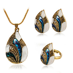 Women's Sculpture Jewelry Set Drop Vintage, European, Fashion Include Necklace Earrings Ring Gold / Silver For Daily