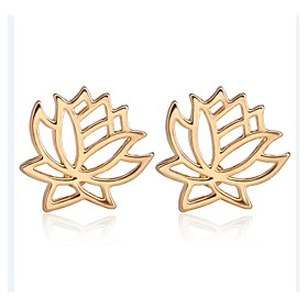 Women's Hollow Out Stud Earrings - Flower, Lotus Simple, Korean, Fashion Gold / Black / Silver For Party / Evening Gift Daily