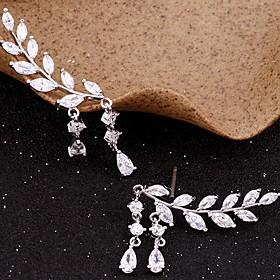 Women's Cubic Zirconia Tassel Stud Earrings Ear Climbers - Leaf Simple, Tassel Gold / Silver For Party Gift Daily