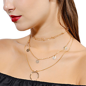 Women's Pearl Layered Stacking Stackable Floating Choker Necklace Pendant Necklace Layered Necklace Floral / Botanicals Moon Crescent Moon Ladies Personalized
