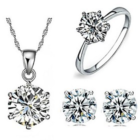 Women's Classic Stylish Jewelry Set Silver Plated Ladies, Classic, Basic Include Stud Earrings Pendant Necklace Ring Silver For Daily Office  Career