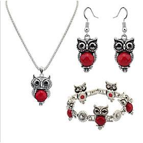 Women's Vintage Style Jewelry Set Resin Owl Ladies, Unique Design, Vintage Include Charm Bracelet Drop Earrings Pendant Necklace Black / Red / Blue For Evening