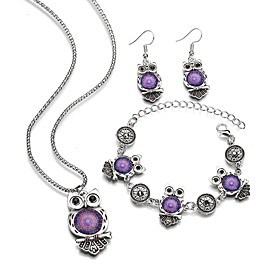 Women's Thick Chain Jewelry Set - Resin Trendy Include Chain Bracelet Drop Earrings Necklace Purple / Blue For Carnival Masquerade