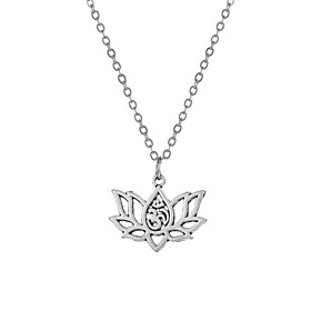 Women's Vintage Style Pendant Necklace Flower Ladies Fashion Gypsy Silver 485 cm Necklace Jewelry 1pc For Party Daily