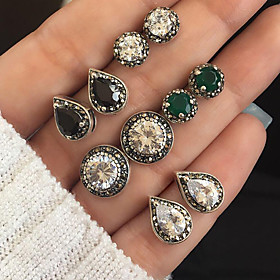 Women's Crystal Vintage Style Stud Earrings / Earrings Set - Drop, Ball Vintage, Bohemian, Fashion Silver For Party / Evening / Holiday / 5 Pairs