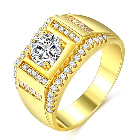 Men's Classic Stylish Ring Promise Ring 18K Gold Plated Imitation Diamond Precious Classic Fashion Hip-Hop Ring Jewelry Gold For Wedding Engagement Masquerade