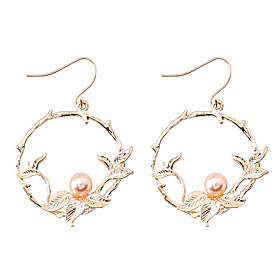 Women's Stylish Drop Earrings - Imitation Pearl Leaf Simple, Korean, Fashion Gold For Causal Daily