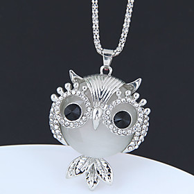 Women's Long Pendant Necklace Long Necklace Rhinestone Owl Ladies Vintage European Fashion Silver 70 cm Necklace Jewelry 1pc For Causal