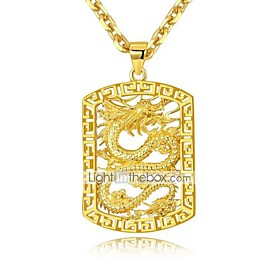 Men's Vintage Style Necklace Charm Necklace Gold Plated Stylish Asian Luxury Cool Gold 50 cm Necklace Jewelry 1pc For Wedding Party / Evening