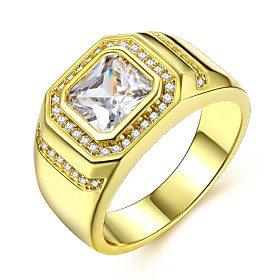 Men's Stylish Ring Imitation Diamond Precious Luxury Classic Fashion Ring Jewelry Gold For Wedding Carnival Masquerade Engagement Party Prom Date 8 / 9 / 10 /
